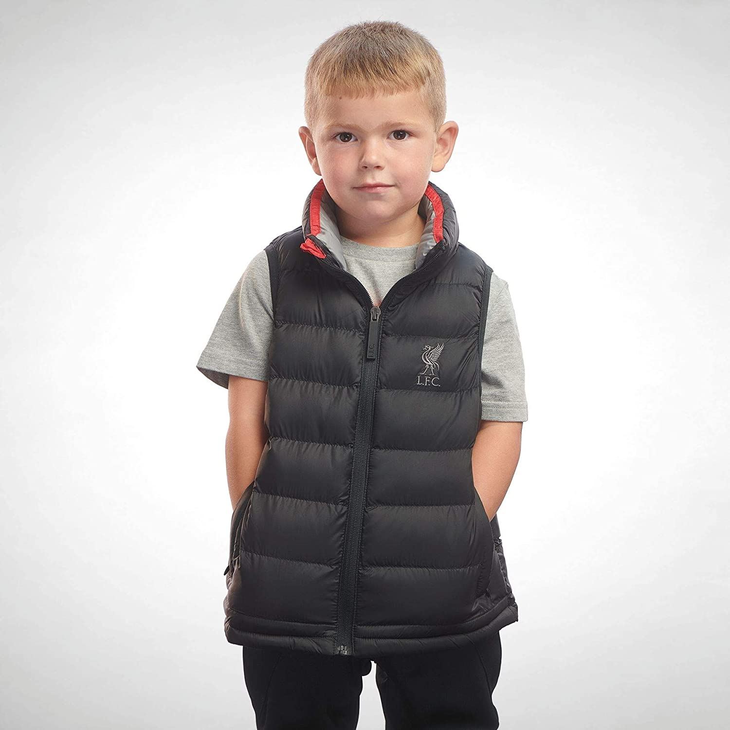 Liverpool FC Black Boys Soccer Gilet AW 18/19 LFC Official