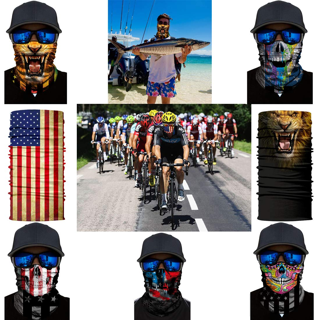 Face-244 Airzir Outdoor Face Mask Breathable Seamless Tube Dust-proof Windproof UV Protection Motorcycle Bicycle ATV Face Mask for Motorcycling Cycling Hiking Camping Climbing Fishing Hunting