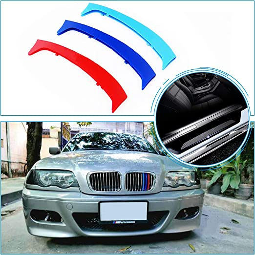 for 11-13 BMW 5 Series 12Grilles one Side m 3 Color Front Grill Stripes Trims Accessories and Pure Black Door Sill Protect Sticker