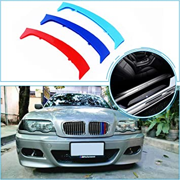 for 12-14 BMW X6 E71 E72 m 3 Color Front Grill Stripes Trims Accessories and Door Sill Protect Sticker 7Grilles one Side
