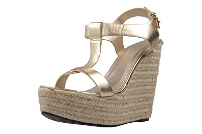 Damen Sandaletten - Gold Schuhe in Übergrößen, Größe:45 Andres Machado