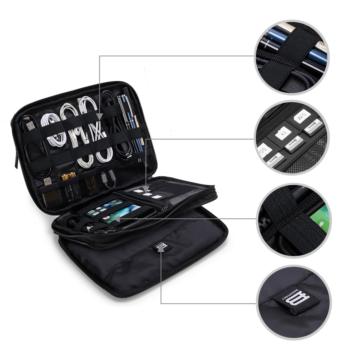 BAGSMART 3-layer Travel Electronics Cable Organizer Bag for 9.7'' iPad, Hard Drives, Cables, Charger, Kindle, Blue by BAGSMART (Image #5)