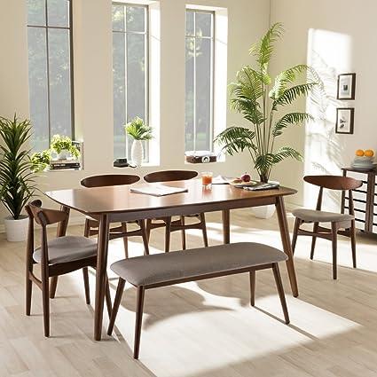 Flora 6 Piece Dining Set In Medium Brown