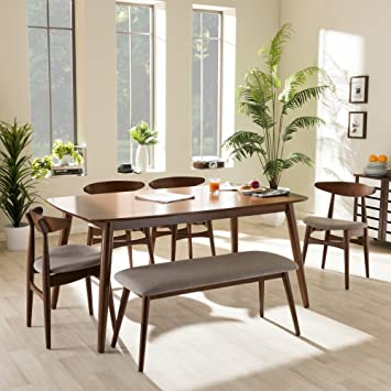 Baxton Studio Flora 6 Piece Dining Set In Medium Brown