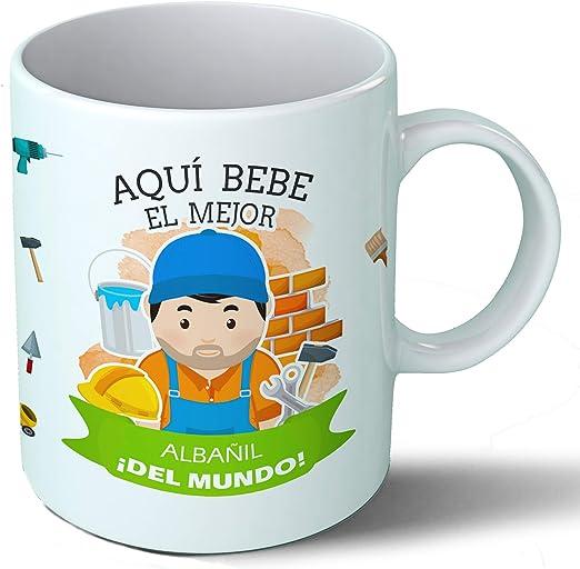 Planetacase Taza Desayuno Aquí Bebe el Mejor albañil del Mundo ...