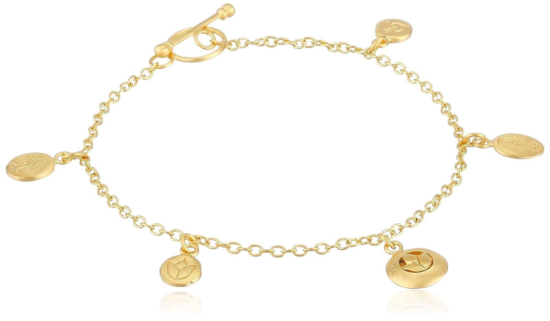 Satya Jewelry Classics Gold-Plated Charm Bracelet, 7