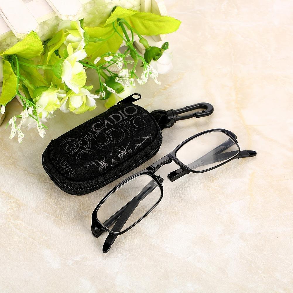 Gafas de lectura plegables Clip port/átil Nariz Gafas presbiculares Estuche para llavero plegable Unisex Port/átil Ligero Plegable Ultrafino Negro Gafas para presbicia 2.5