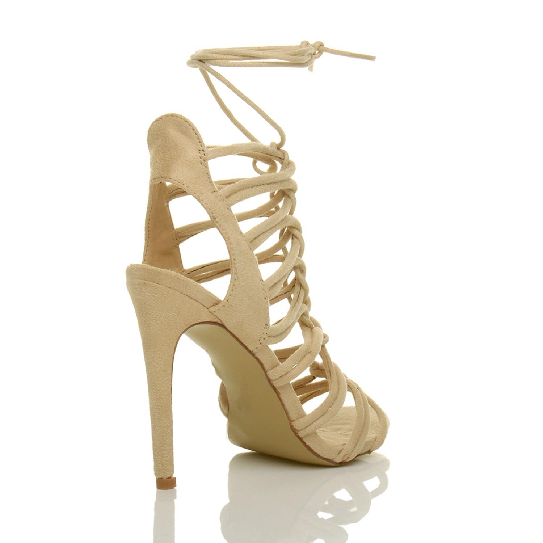 Damen Hoch Absatz Reimchen Ausgeschnitten Schnür-Pumps Sandalen Schuhe Größe 7 40 cmLOyiyljJ