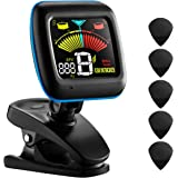 Guitar Tuner, Atmoko 2-in-1 Clip-on Tuner and Metronome for Guitar, Ukulele, Bass, Violin and Chromatic, Clear LCD Display, Battery and Guitar Picks Included