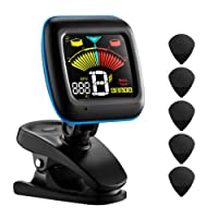 ATMOKO Guitar Tuner, 2 in 1 Clip-on Electronic Guitar Tuner Acoustic Metronome(No Sound) Guitar, Bass, Violin, Ukulele Chromatic Tuning LCD Colorful Display, 5 Picks Battery Included