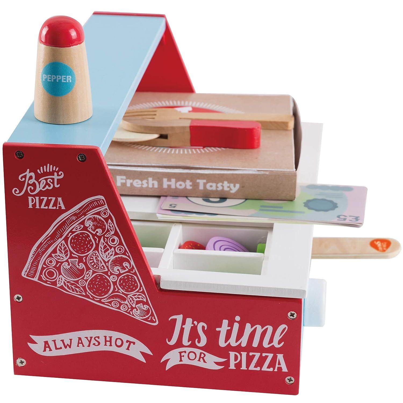 bee SMART Pizza Party Set in Legno Cibo Giocattolo e Accessori per Bambini con 30 PCS