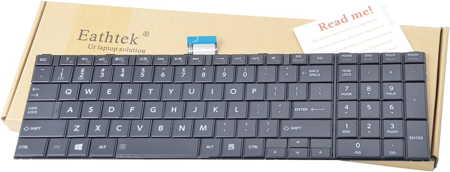 Eathtek Replacement Keyboard for Toshiba Satellite C55-A C55-A5249 C55 C55-A5300 C55-A5302 C55-A5281 C55-A5282 C55-A5310 C55-A5330 C55-A5332 Series Black US Layout(Only fit for C50-A C55-A Laptop)