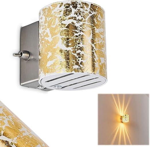 Lampada Da Parete Bamako Con Vetro Colore Oro Dorato Applique Murale Con Effetto Luce Up
