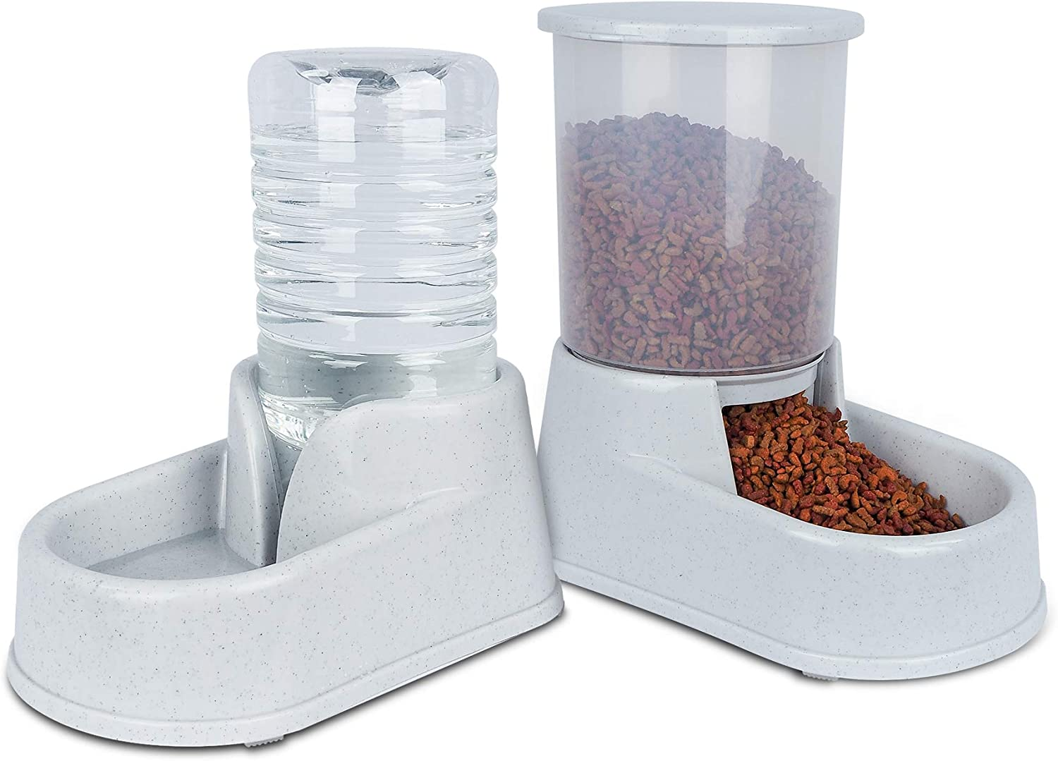 Noodoky Pet Feeder Set, Automatic Cat feeders and 2.5L Waterer, Auto Gravity Water and Food Dispenser for Small Medium Cat Dog