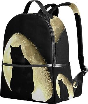 Ahomy Mochila Escolar para Halloween, Gato Negro, luz de la Luna, Mochila Oscura para niñas y niños: Amazon.es: Equipaje