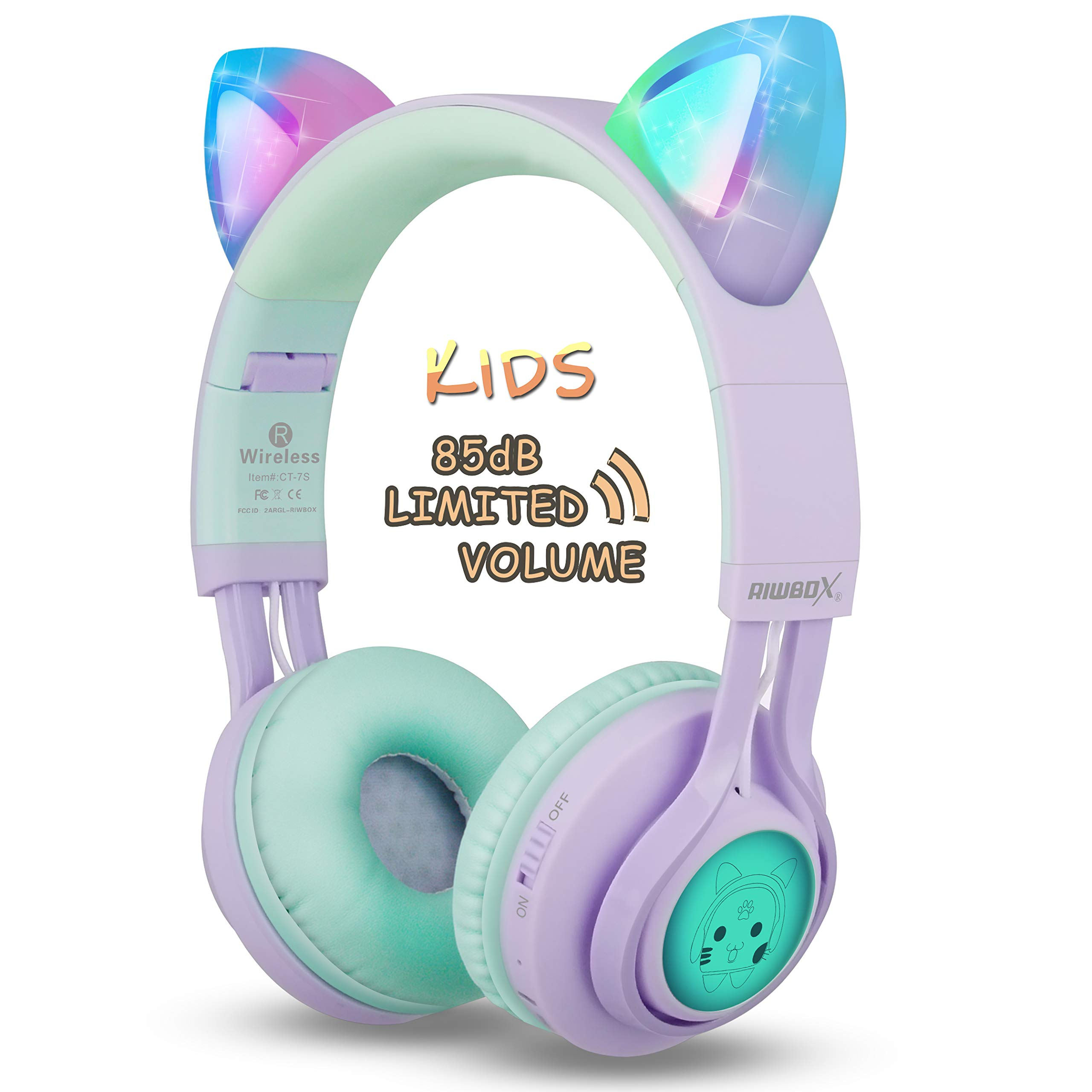 Kids Headphones, Riwbox CT-7S Cat Ear Bluetooth Headphones 85dB Volume Limiting,LED Light Up Kids Wireless Headphones Over Ear with Microphone for iPhone/iPad/Kindle/Laptop/PC/TV (Purple&Green)