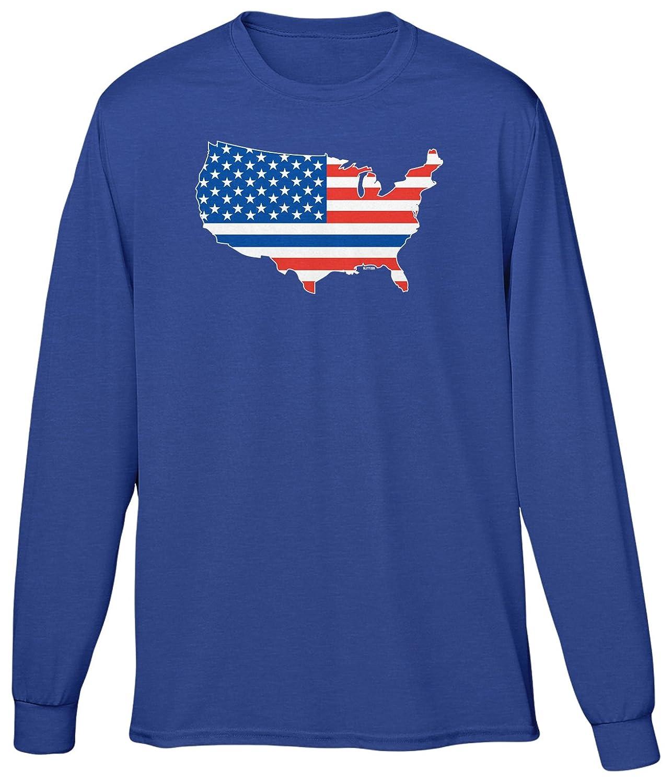 Blittzen Mens Long Sleeve T-shirt Blue Line USA Flag