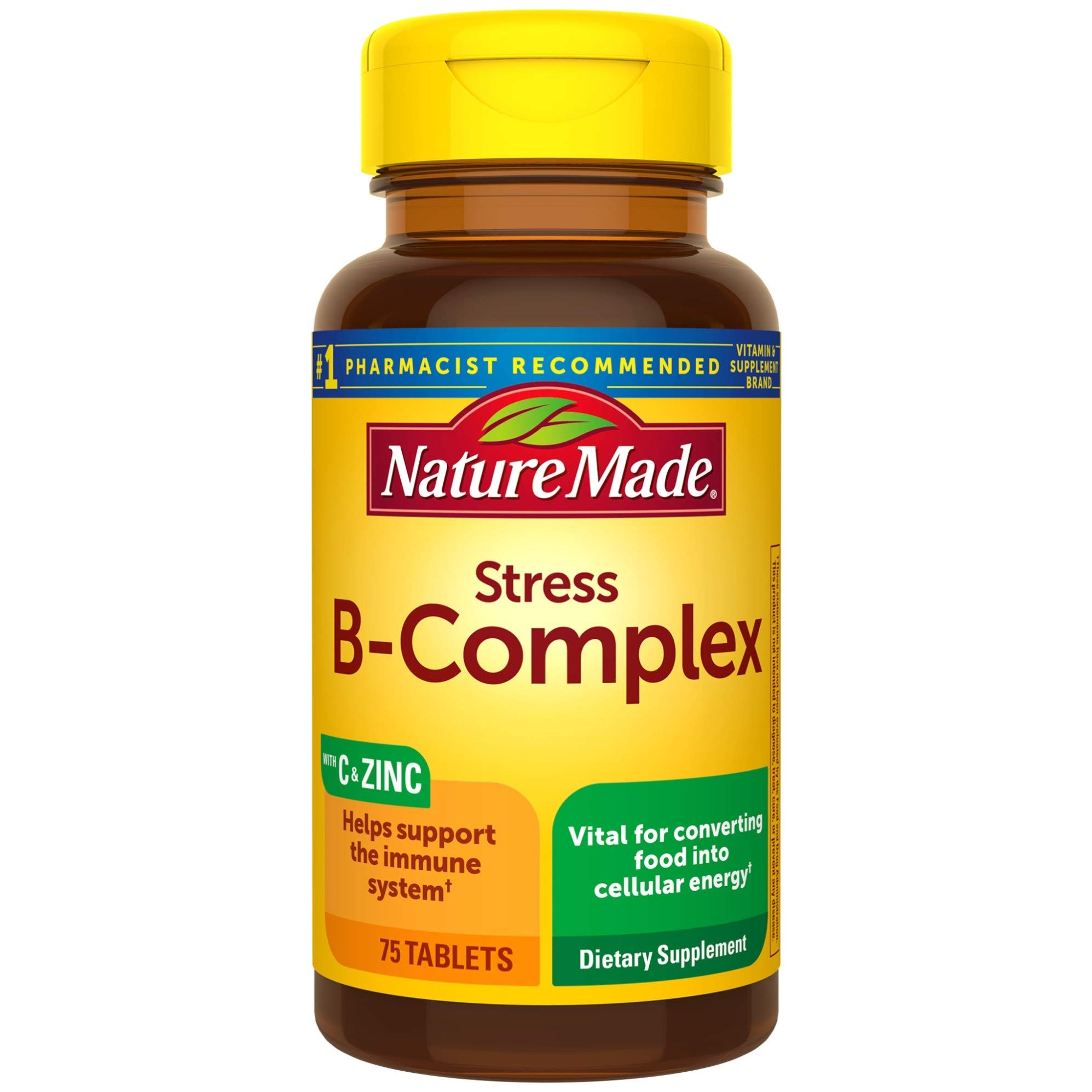 Nature Made Stress B-Complex with Vitamin C and Zinc Tablets, 75 Count