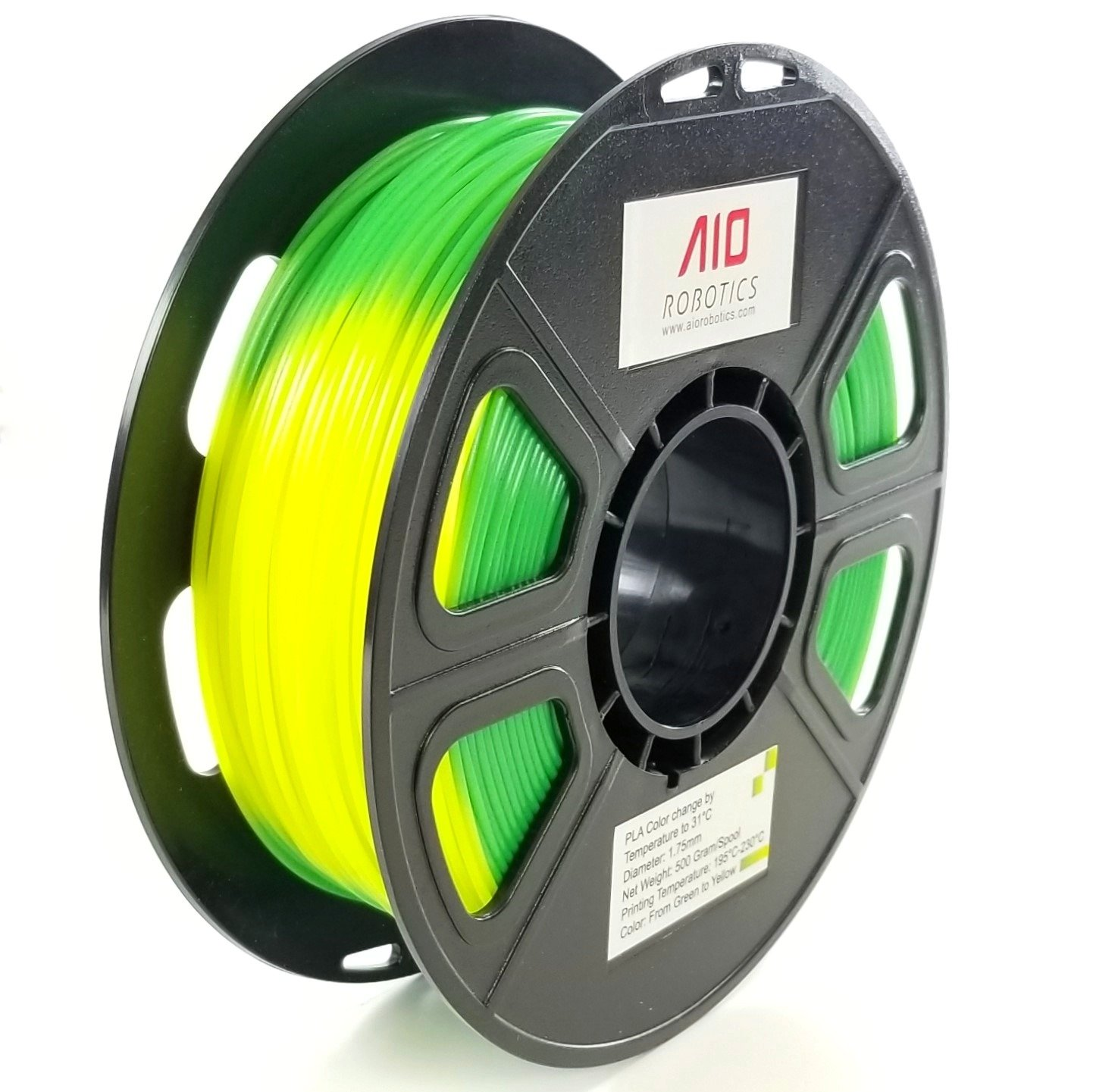 AIO Robotics Premium 3D Drucker Filament, PLA mit Farbwechsel bei Temperaturveränderung, 0,5 kg Spule, Genauigkeit +/- 0,02 mm, Durchmesser 1,75 mm, Gelb/Grün