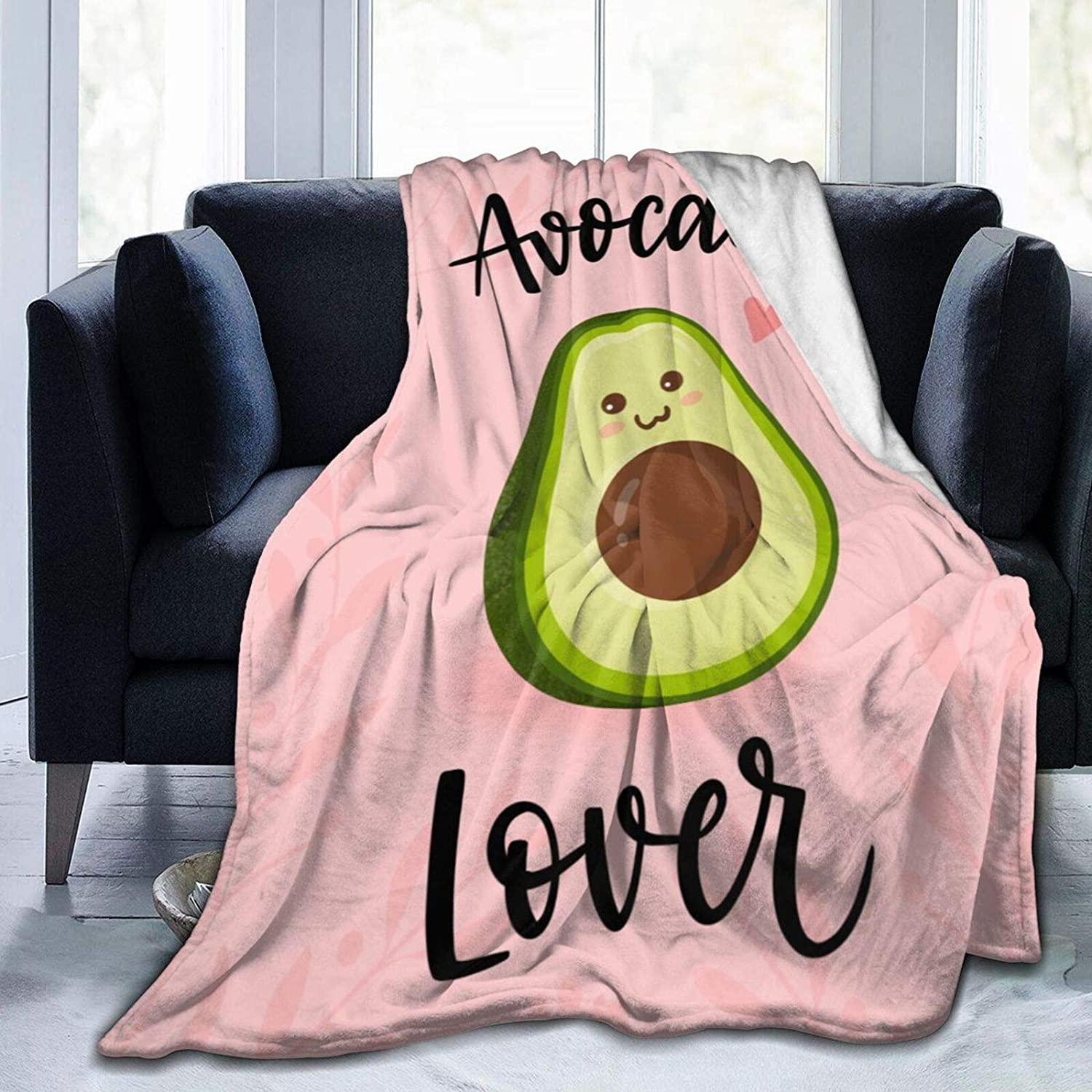 BOLDROLE Cartoon Avocado Blanket, Cute Cartoon Food Fruit Throw Blankets, Soft and Comfortable Giant Round Beach Blanket for Kids and Adults