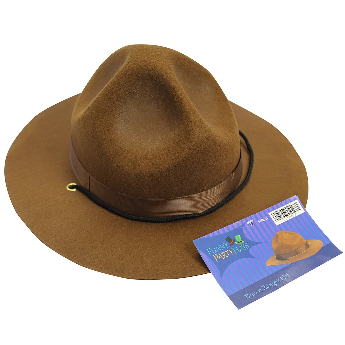 Amazon.com  Ranger hat - Brown Drill Sergeant Military Campaign Hat by  Funny Party Hats  Toys   Games 31b04087e1d