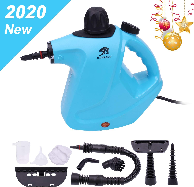 MLMLANT Limpiador de Vapor presurizado de Mano, 450ml 1050W y 9 Accesorios,Vaporeta Portátil y Manual de Alta Presión