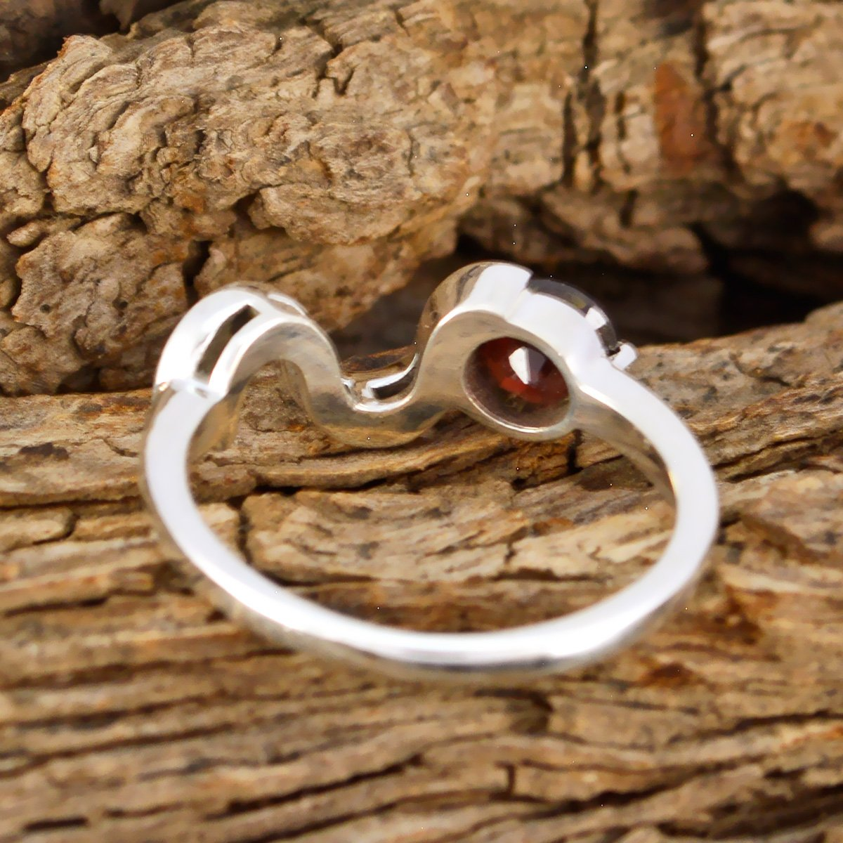 Solid Silver Red Garnet Genuine Gems Ring Home /& Living Good Selling Shops Gift for Christmas Day Statement Jewelry Genuine Gems Round Faceted Garnet Ring