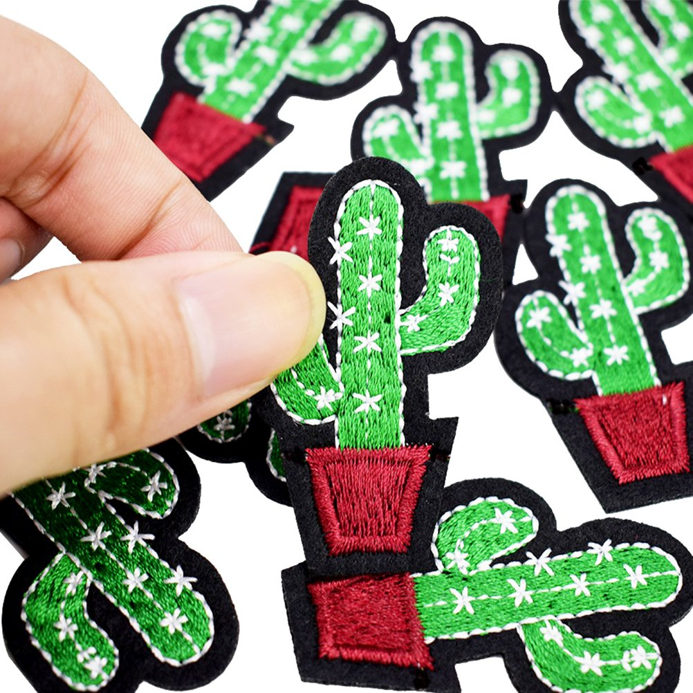3 Pcs Cactus Shaped Embroidered Sew Iron On Applique Patch for DIY Crafts by Sdetter The glass Heart