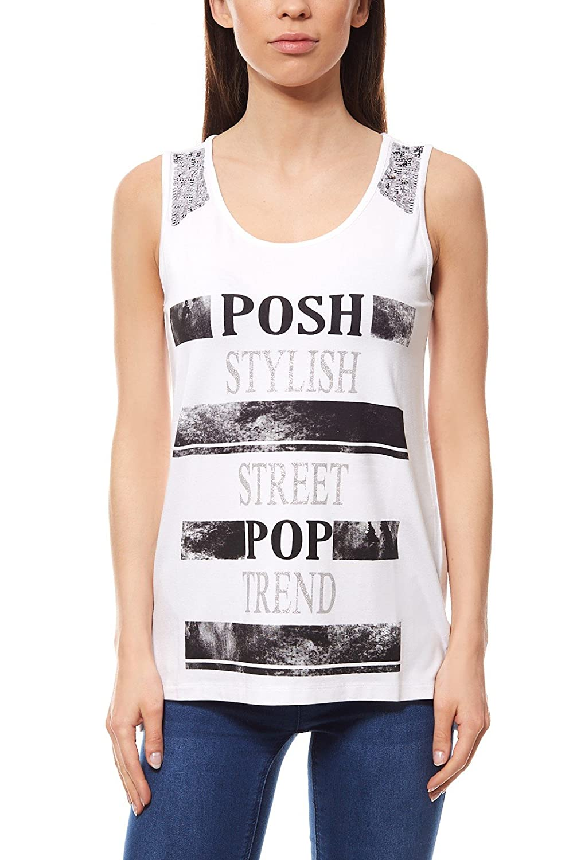 bfb30b518a8379 Ausgang Aniston Top Vohukila-Look Paillettenbesatz Shirt Partyshirt Damen  Weiß