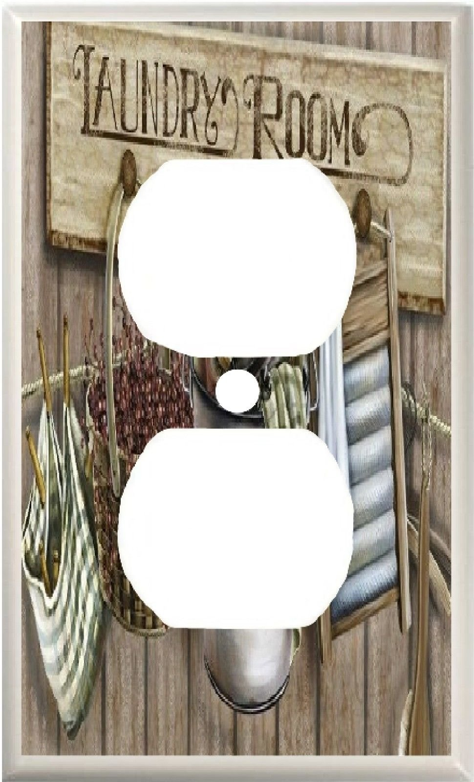 LAUNDRY ROOM WASH BOARD CLOTHES PINS BASKET HOME DECOR LIGHT SWITCH COVER PLATE OR OUTLET (1X OUTLET)