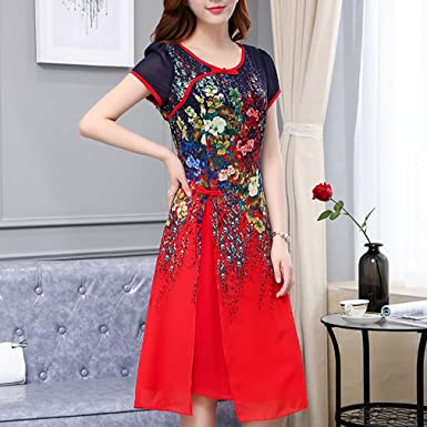 Vestido de mujer Vestidos de las mujeres sofisticadas tallas grandes de gasa suelta hasta la rodilla