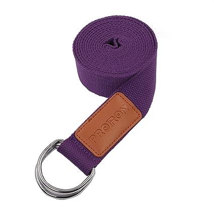 PROIRON Correas de Yoga Ajustable Cinturón para Estiramientos Algodon Correa para Ejercicios con Hebilla Metal D-Anillos 2mm Ultra Grueso