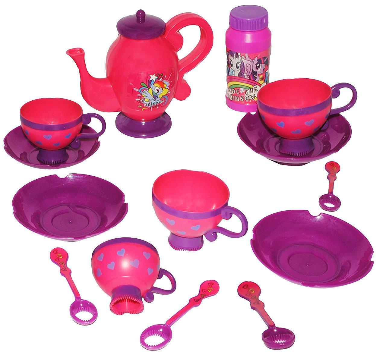 14 TLG. Set: Seifenblasen Service -  My Little Pony  - Teeservice + Seifenblasenstäbe + Nachfüllflasche - Badewanne - Badewannenspielzeug - für Kinder Mädch..