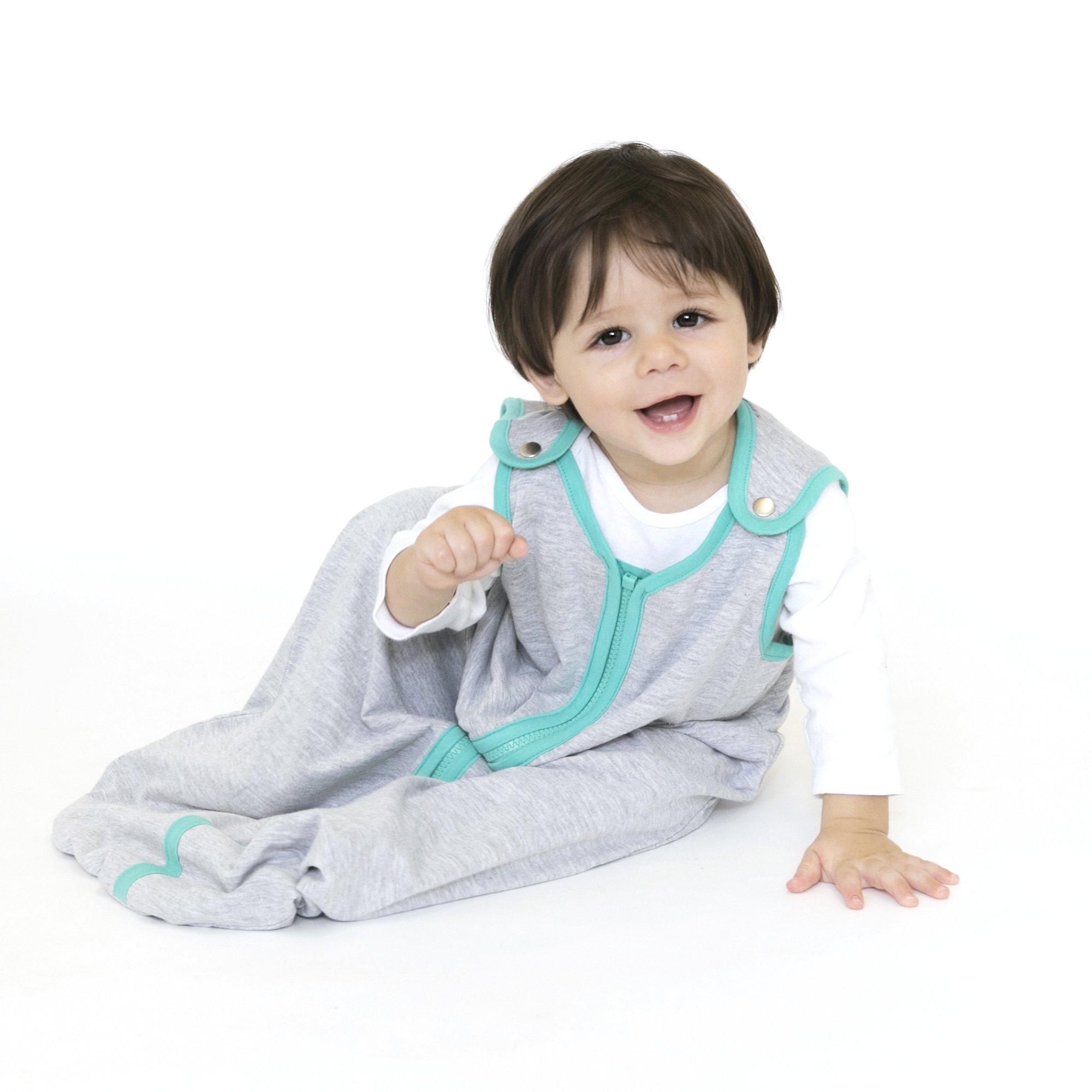 baby deedee Sleep Nest Lite Baby Sleeping Bag, Heather Gray/ Teal, Small (0-6 Months)