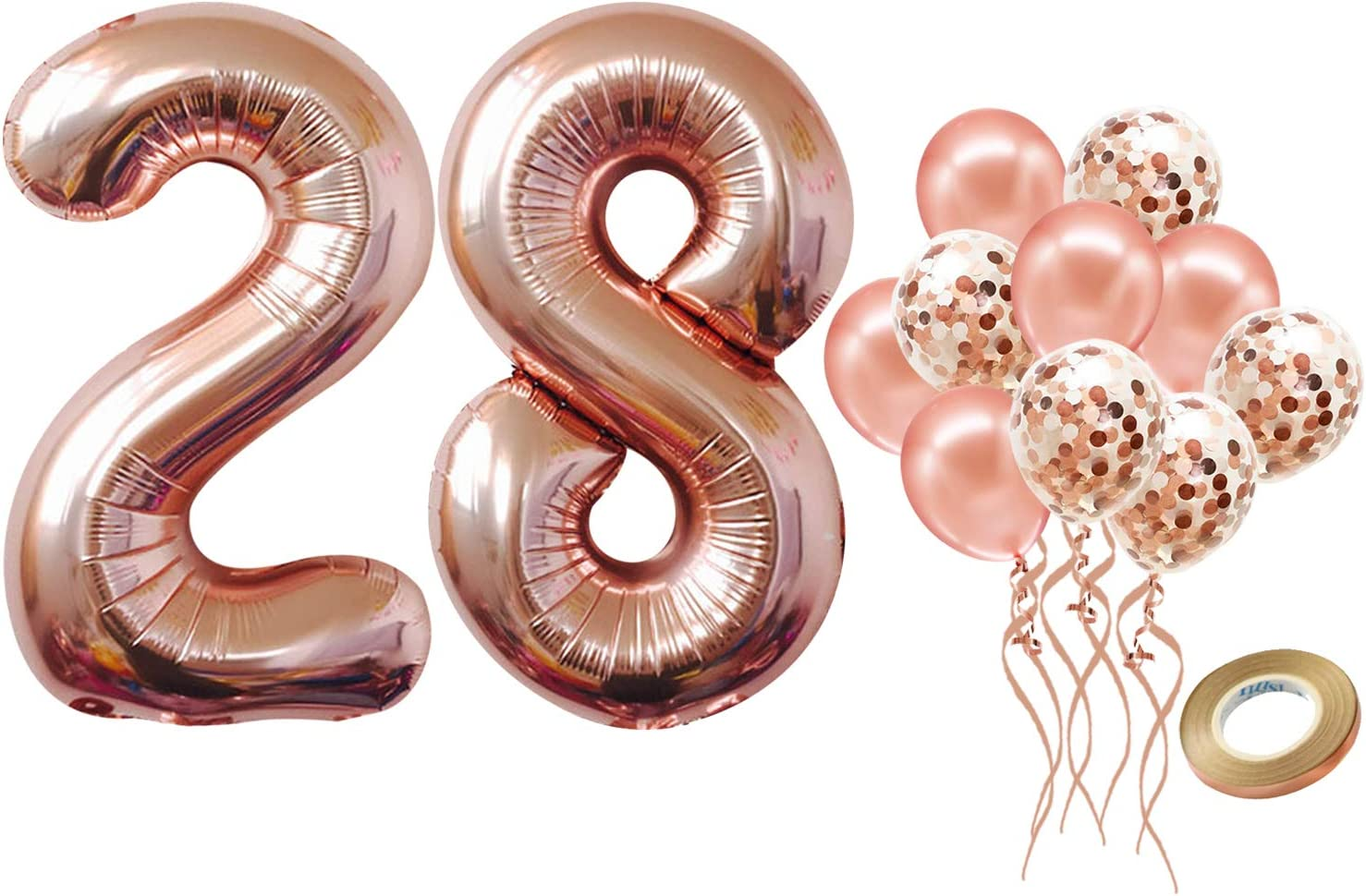 Rose Gold 28th Birthday Balloons Party Decorations Set - Large 40 inch | Rose Gold Confetti Balloons | 28 Balloon Number for 28 Birthday Party Decorations | 28th Birthday Decorations for Women and Men
