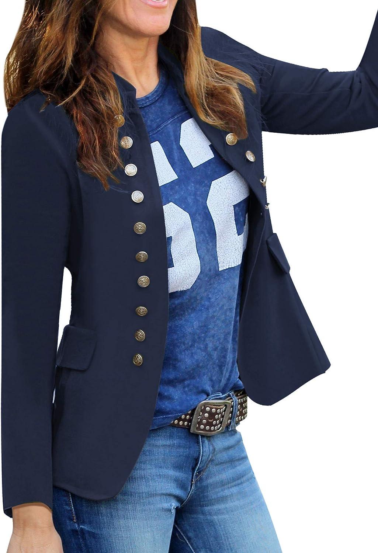 GRAPENT Women's Business Casual Buttons Pockets Open Front Blazer Suit Cardigan