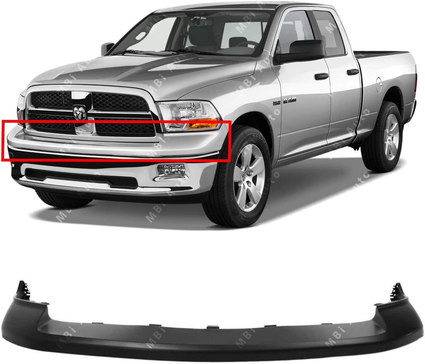 NEW CH1014101 UPPER BUMPER COVER FRONT FOR DODGE RAM 1500 2009-2012