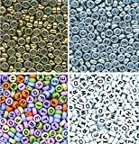 AlphaAcc 1600 Assorted Threadable Letter Beads - 400 Multi Coloured, 400 White, 400 Silver and 400 Gold - Perfect for Card Making, Scrapbooking, Jewelry Making, Festive Christmas Crafts (4 Color Kit)
