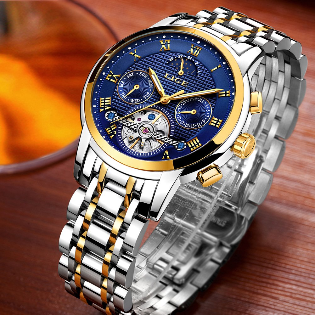 Relojes para Hombres,LIGE Mecánico Automático Relojes de Pulsera Acero Inoxidable Impermeable Fase Lunar Moda Casual Esquelético Tourbillon Reloj Oro Azul: ...