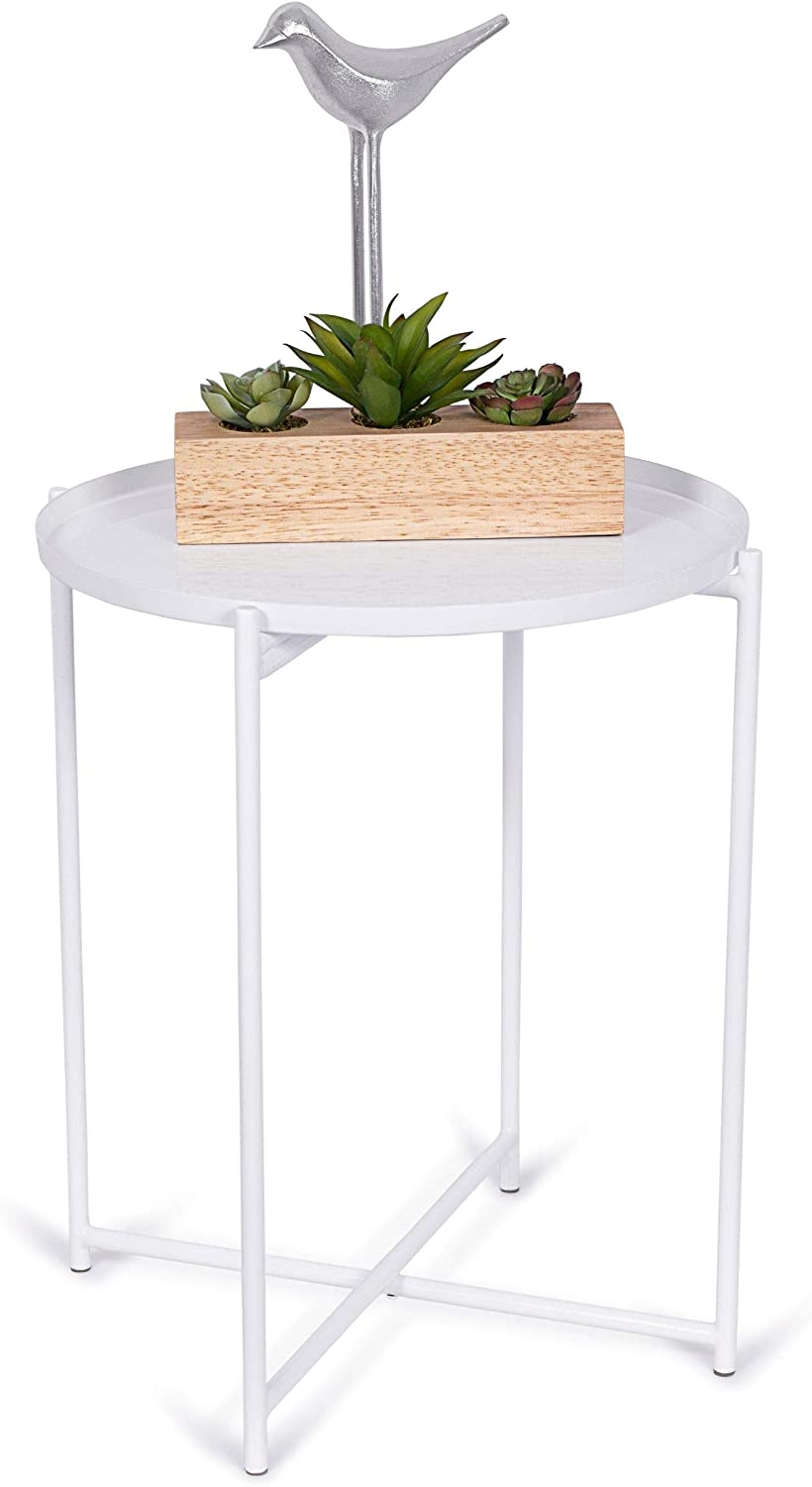 BIRDROCK HOME Ivory Folding Side Table with Removable Tray - Metal Foldable Nightstand - Living Room, Bedroom or Patio - Bar Coffee Drinks Food Serving Tray - Decorative Small Modern End Accent