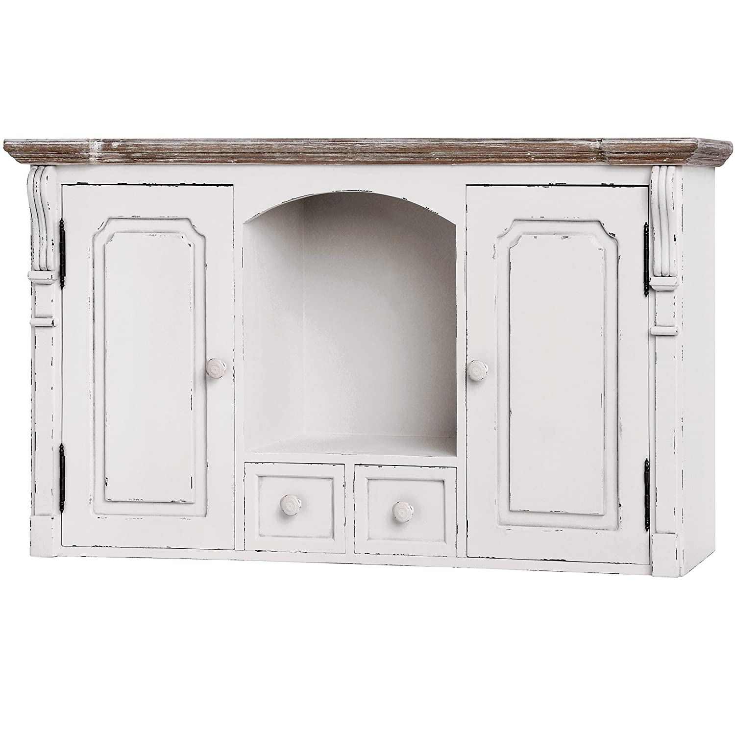 Country Style Antique White Wall Mounted Wooden 2 Drawers Twin Cupboard Cabinet Interior Flair