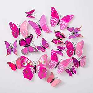 36PCS Butterfly Wall Decals - 3D Butterflies Decor for Wall Sticker Removable Mural Stickers Home Decoration Kids Room Bedroom Decor (Purple)