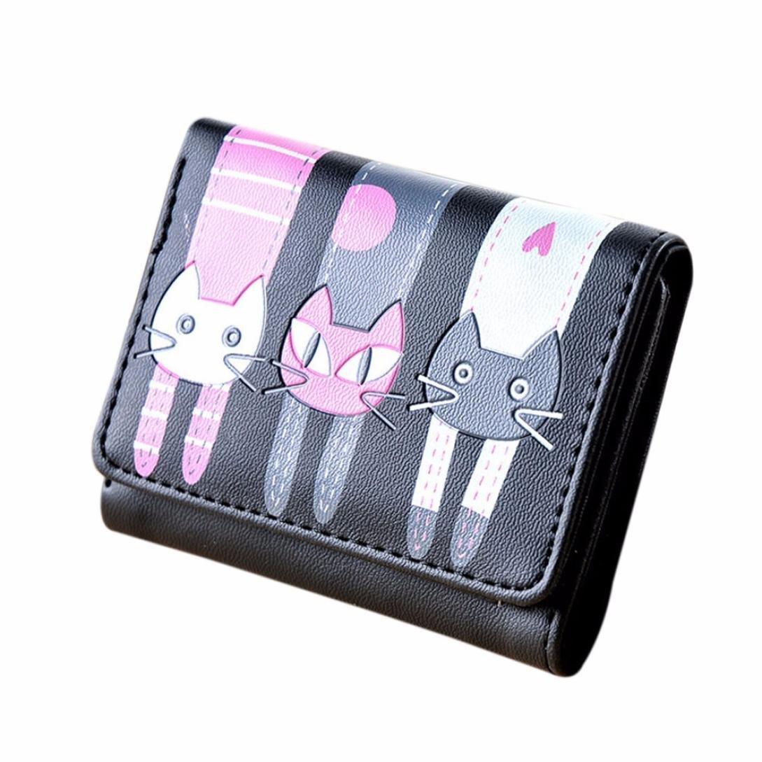 Sumen Wallet, Cat Pattern Coin Purse Short Wallet Card Holders Handbag (Black)