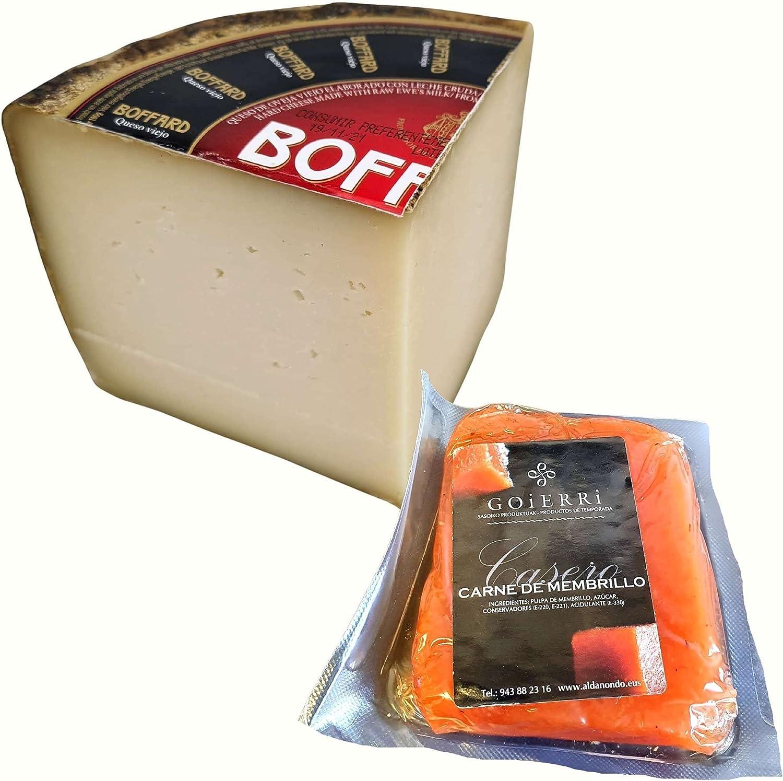 Queso Boffard Reserva - Elaborado con leche cruda peso aproximado 800 gramos - Medio Queso Curado con Membrillo Goierri - Queso de Oveja (Cuarto de Queso con Membrillo)