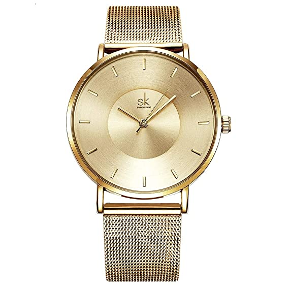 shengke Fashion Mujer Relojes 2017 Ultra Fina Malla Banda Reloj de Cuarzo Mujer Elegante Vestido Reloj de Pulsera para Mujer Montre Femme SK: Amazon.es: ...