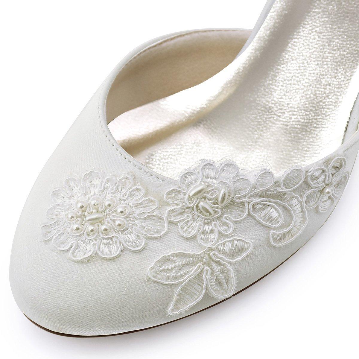 Elegantpark HC1604 Ivory Damen Geschlossene Zehen Stickerei Perlen Satin Brautschuhe