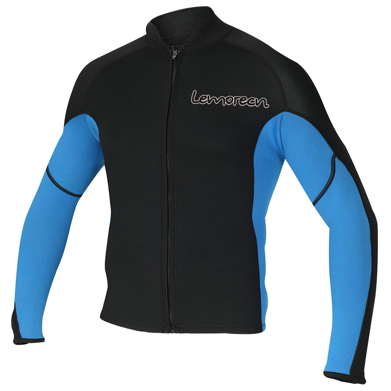 Lemorecn Men's 2mm Wetsuits Jacket Long Sleeve Neoprene Wetsuits Top (2021blue-2XL) by Lemorecn