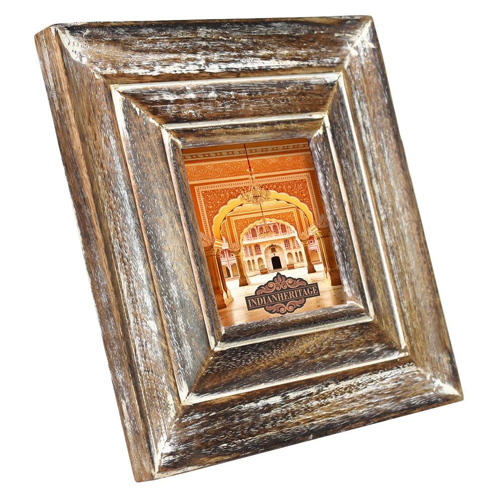 Indian Heritage Wooden Photo Frame 4x4 Mango Wood Molding Design in Dark wood with Whitewash Finish