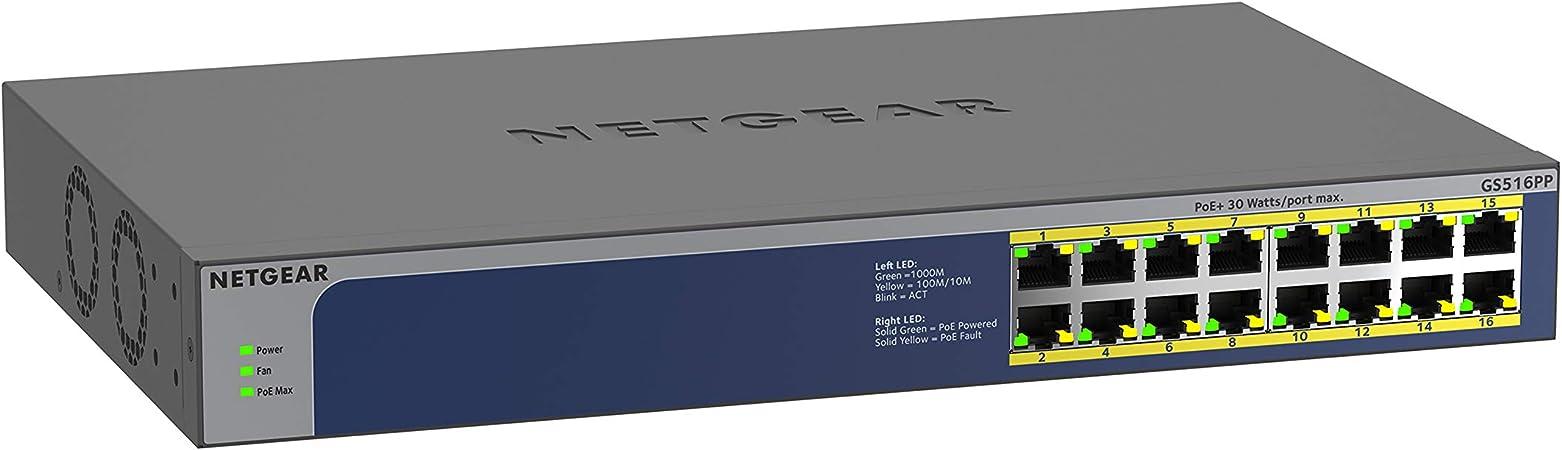 Netgear Gs516pp 16 Port Gigabit Ethernet Lan Poe Switch Computer Zubehör