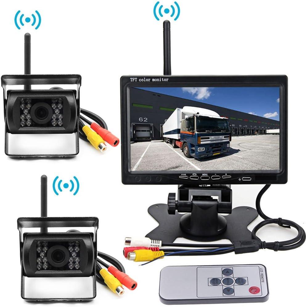 """Inalámbrico 2 x18 IR LED Visión nocturna Impermeable Camara marcha atras Vehícul(Sin linea de estacionamiento)+7"""" TFT LCD HD800 x 480 Píxel Monitor para Camiones / Autos / Tractores / Autobuses"""